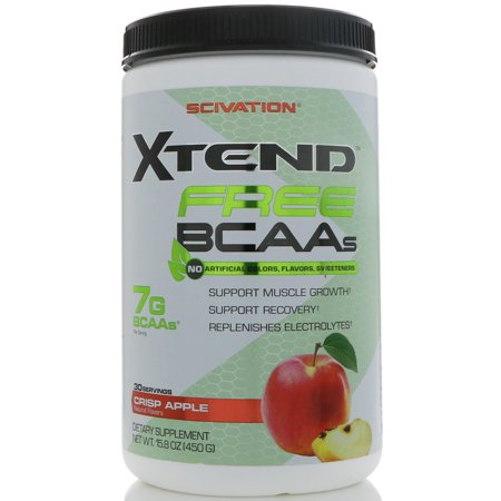 Scivation Xtend Free BCAA Powder, Crisp Apple, 13.5 Oz