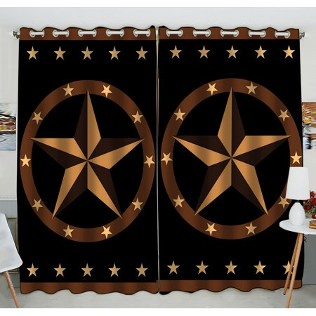 Texas Longhorns Window - GCKG Texas Star Window Curtain,Texas Star Grommet Blackout Curtain Room Darkening Curtains For Bedroom And Kitchen Size 52(W) x 84(H) inches (Two Piece)