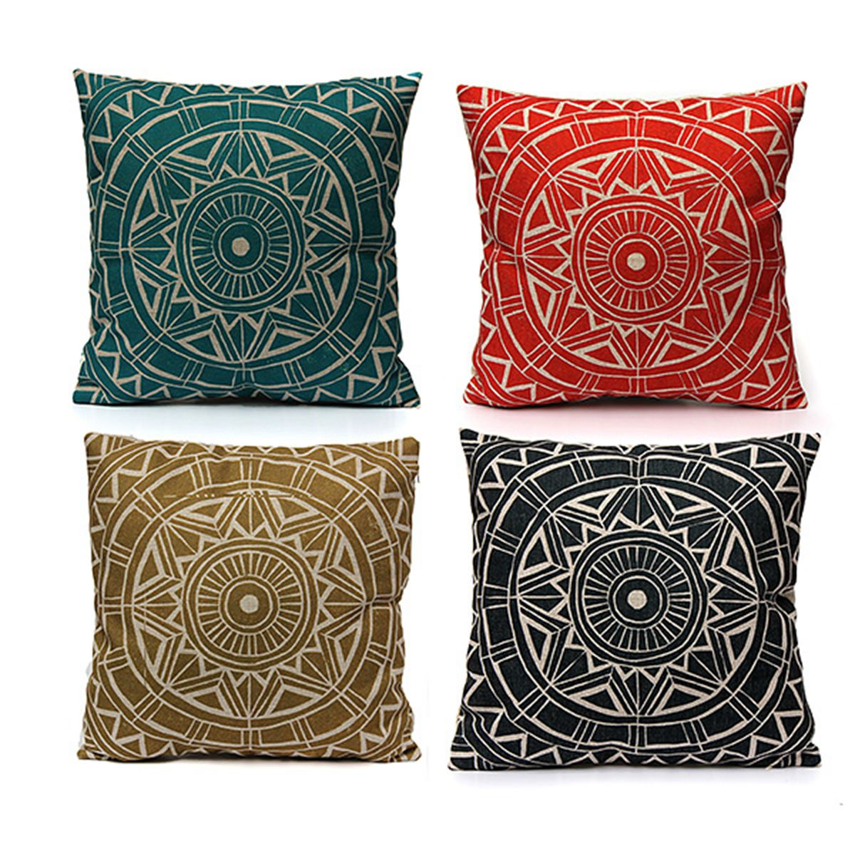 Asewin Linen Printing Pillowcase Cotton Square Shaped Decorative Pillowslip18''x18'' ,Throw Pillow Cover Case for Sofa in Patio Garden Home Lumbar Cushion Cover,Black color