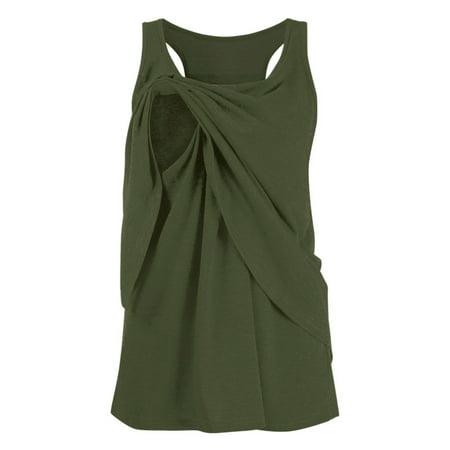 Sleeveless Wrap Blouse - Tuscom Women's Maternity Nursing Wrap Double Layer Sleeveless Blouse T Shirt