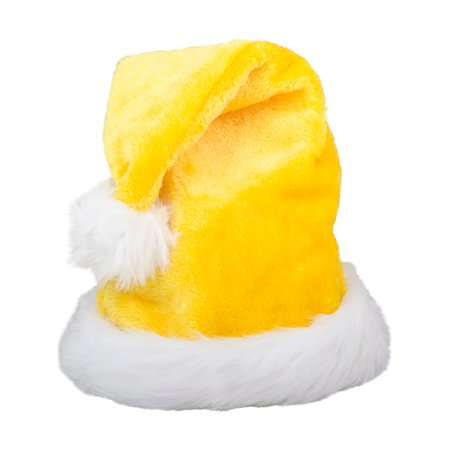 Yellow Santa Hat (Christmas Yellow Plush Faux Fur Trim Santa Hat Costume)