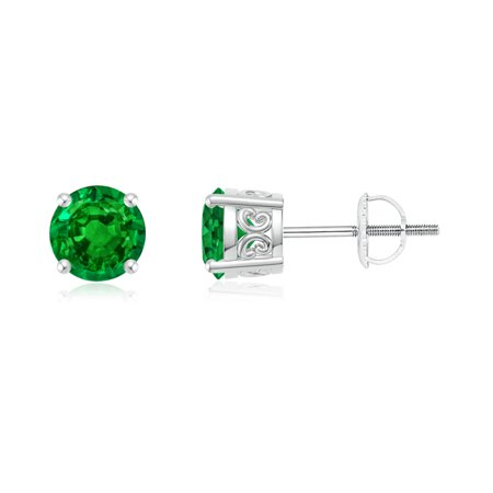 May Birthstone Earrings Vintage Style Round Emerald Solitaire Stud In 950 Platinum 5
