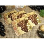 DLusso Designs Wc17 4Pc Wood Cork Coaster Set Grapes, Pack Of - 4.