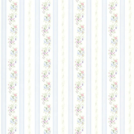 Brewster Princess Light Blue Floral Stripe Wallpaper