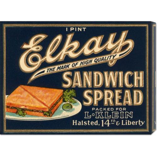 Retrolabel 'Elkay Sandwich Spread' Stretched Canvas