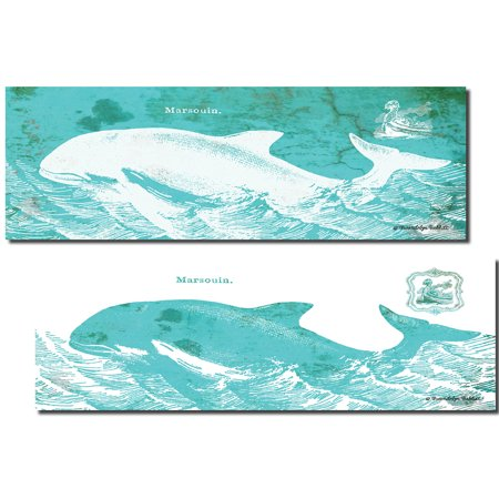 Popular Retro Teal and White Caribbean Whale Prints; Coastal Decor; Two 18x6in Poster Prints - Caribbean Decor