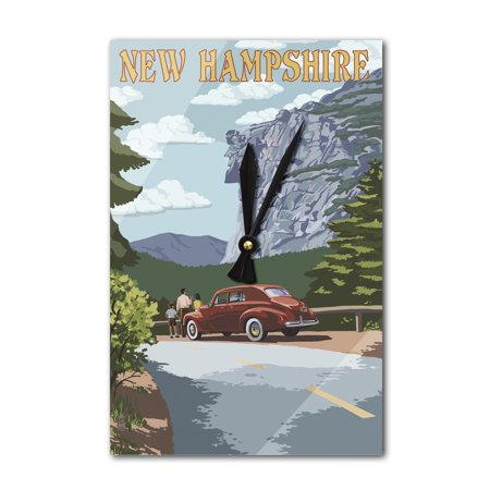 New Hampshire - Old Man of the Mountain & Roadway - Lantern Press Artwork (Acrylic Wall Clock)
