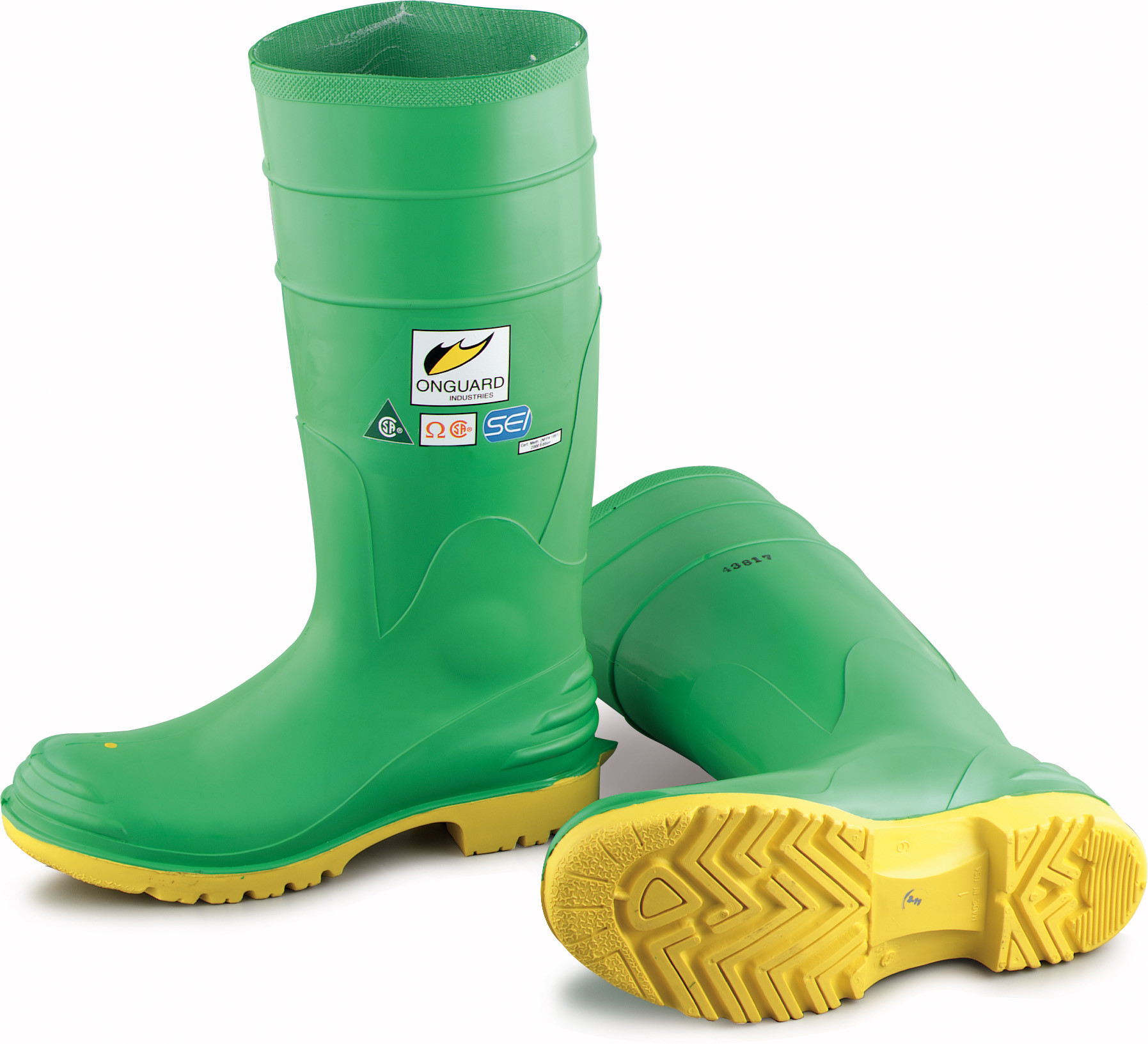 Onguard Industries Size 9 Hazmax Green 16'' PVC Knee Boots With Ultragrip Sipe Outsole, Steel Toe And Removable Insole