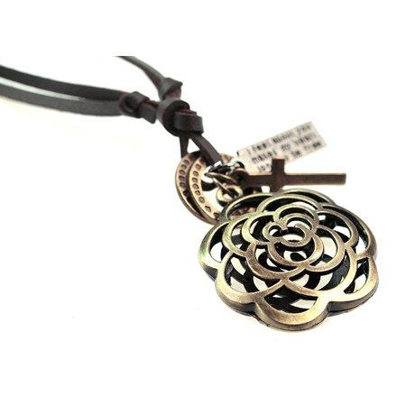 Vintage Bronze Rose Flower Pendant Tribal Leather Adjustable Necklace