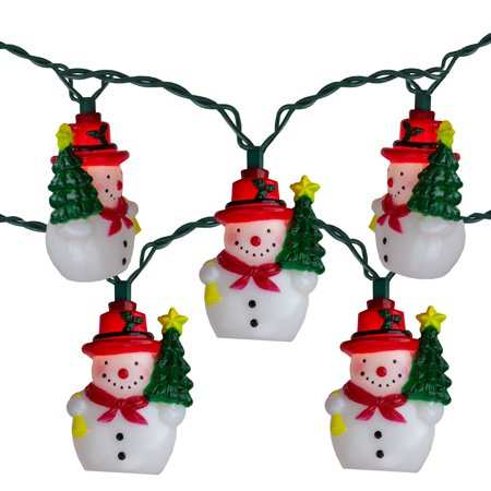 Set of 10 Snowman With a Christmas Tree Novelty Lights - 11