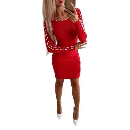 58178e6460 Emmababy - Women s Long Sleeve Round Neck Beaded Pearl Bodycon Mini Sweater  Dress Party Clubewear A-Line Knit Dress - Walmart.com