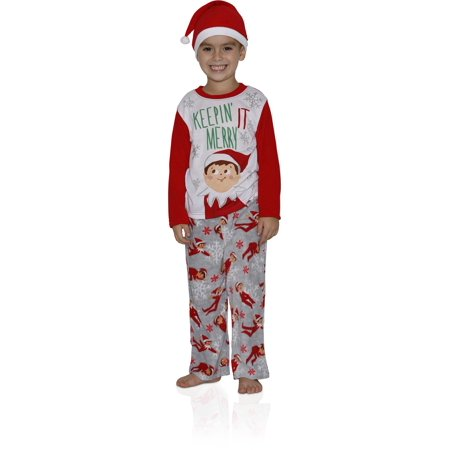 Elf on the Shelf  Boys' Family Sleep 2-Piece Pajama with Hat, RED, Size: 4