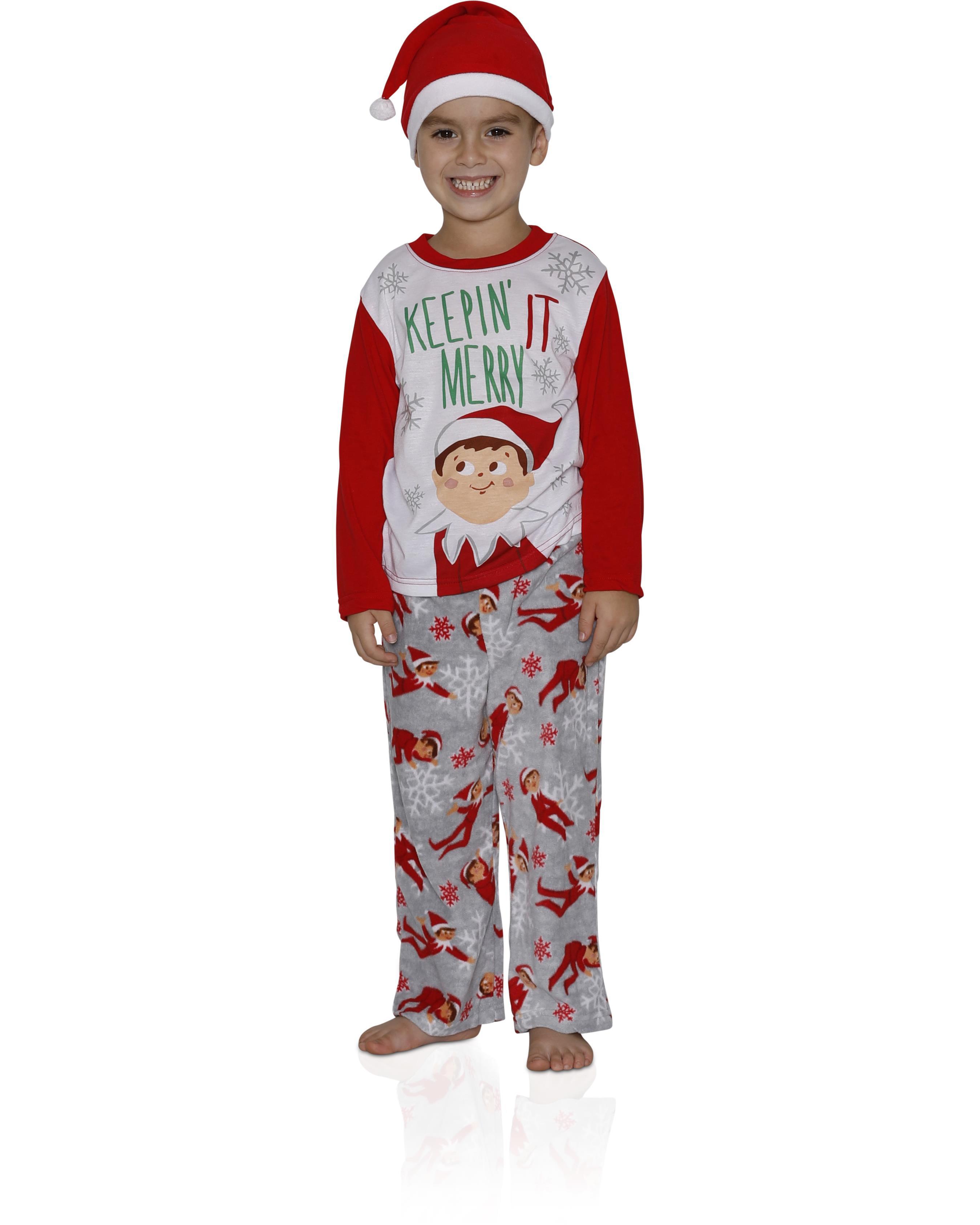 Elf on the Shelf  Boys' Family Sleep 2-Piece Pajama with Hat, RED, Size: 4