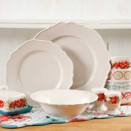 The Pioneer Woman Vintage Ruffle Linen Dinnerware Set, 20 Piece