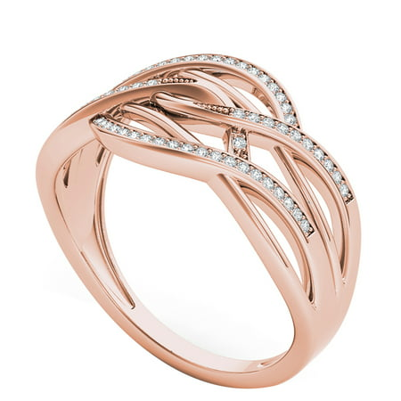 10k Rose Gold 0.15CT Round Cut Diamond Ribbons Promise Ring Size 6.5