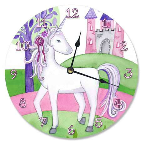 The Stupell Home Decor Collection Unicorn and Her Castle Vanity Clock