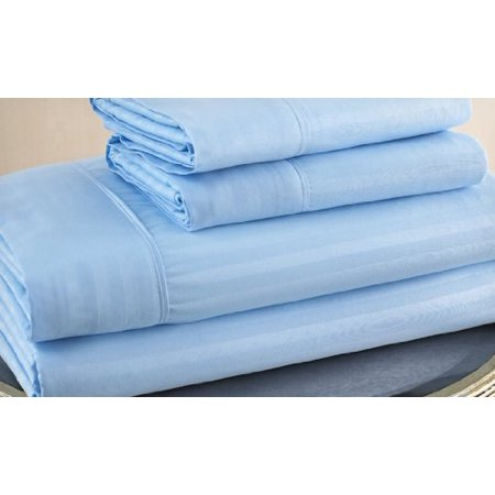 King Size Light Blue 500 Thread Count 100% Cotton Sateen Dobby Stripe Sheet Set