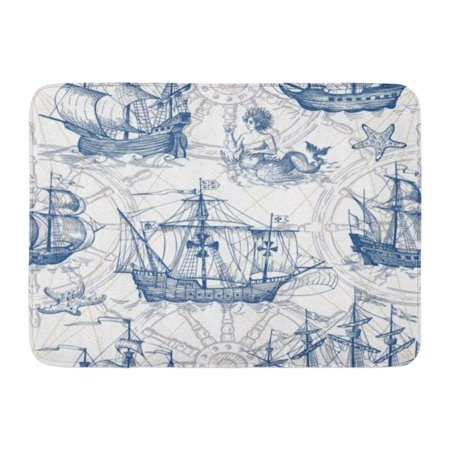 Map Of Sea Floor - KDAGR Old Caravel Vintage Sailboat Sea Monster Monochrome Sketch for Boy Detail of The Geographical Maps Doormat Floor Rug Bath Mat 23.6x15.7 inch