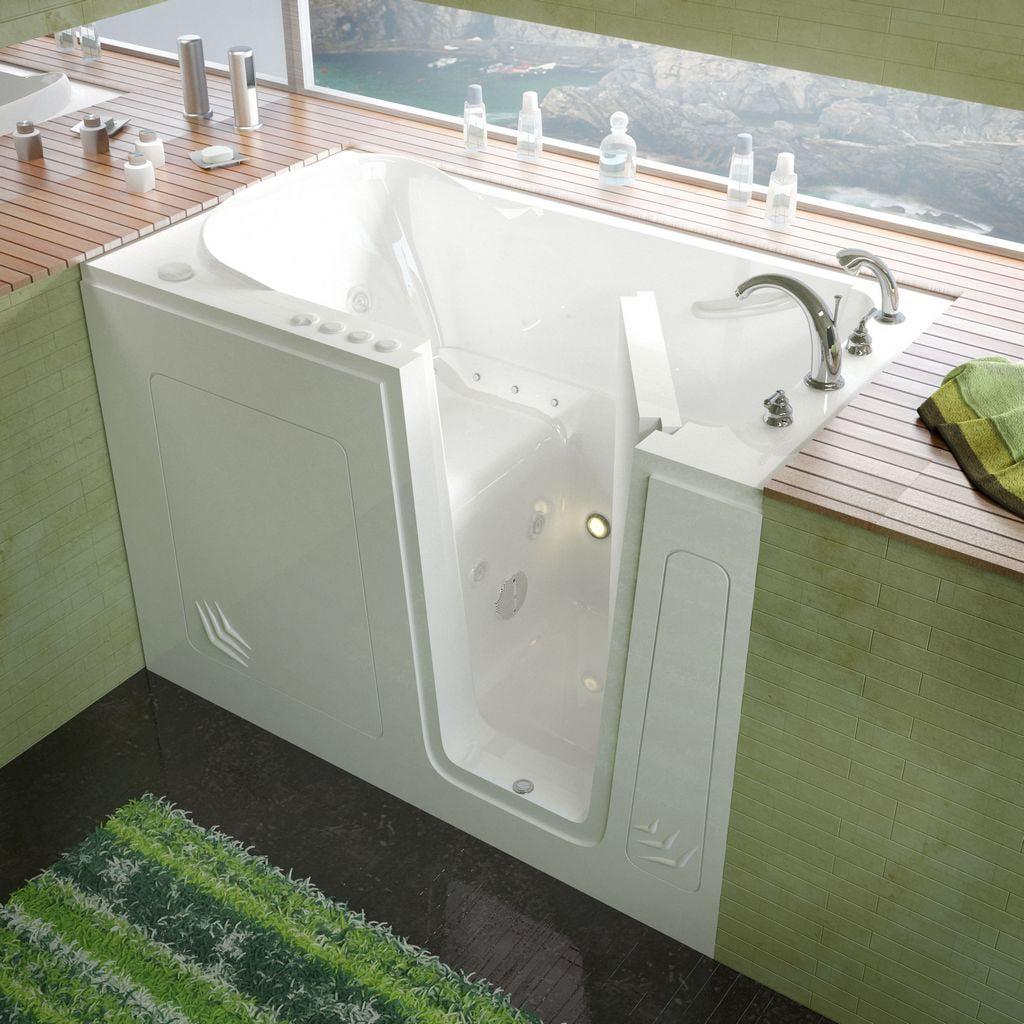 Meditub 30x54 Right Drain White Whirlpool & Air Jetted Walk-In Bathtub