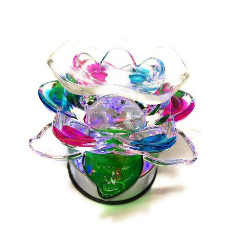 Glass Rose Lotus Touch (ET-322) Electric Fragrance Oil Tart Warmer (Burner / Warmer / Lamp)