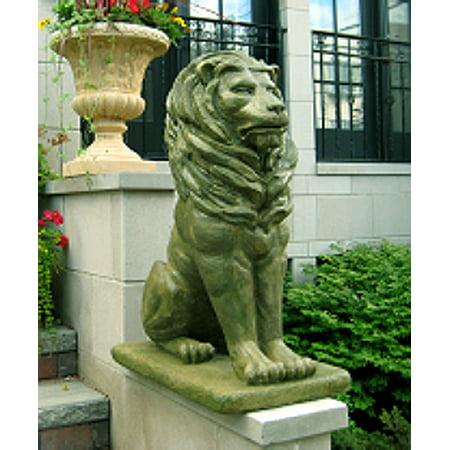 Set of 2 Regal Sitting Lion Cast Stone Concrete Moss Finish Outdoor Garden Statues