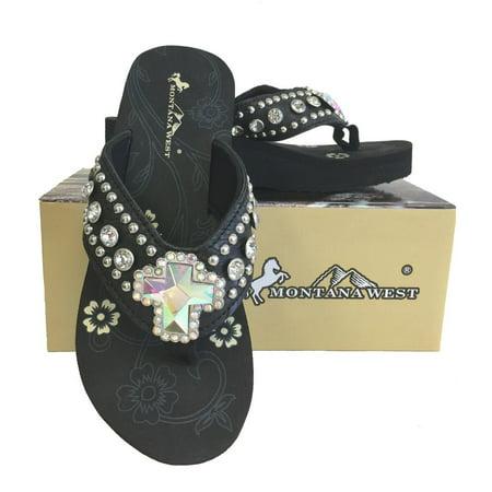 67bfdb64c19ebd Montana West - Montana West Ladies Flip Flops Rhinestones Crystal Cross  Concho Black - Walmart.com
