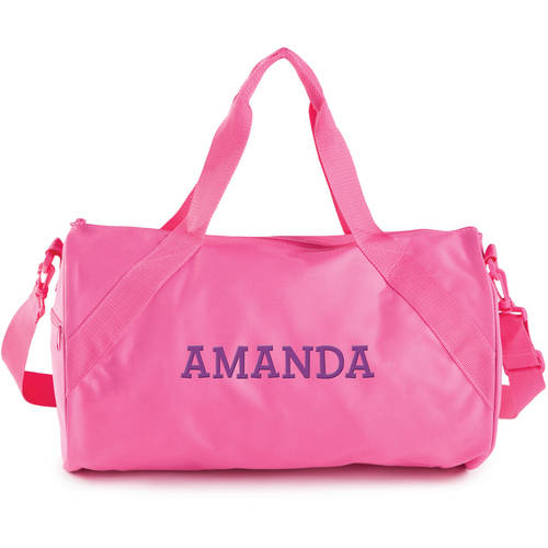Personalized Black Duffle Bag in Black, Blue, Pink or Red
