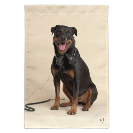 Image of Rottweiler Dog Headphones Sitting DJ Garden Yard Flag