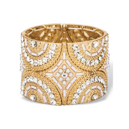 """White and Gold Crystal and Simulated Pearl Geometric Art Deco-Style Beaded Stretch Bangle Bracelet in Gold Tone 7.75"""""""