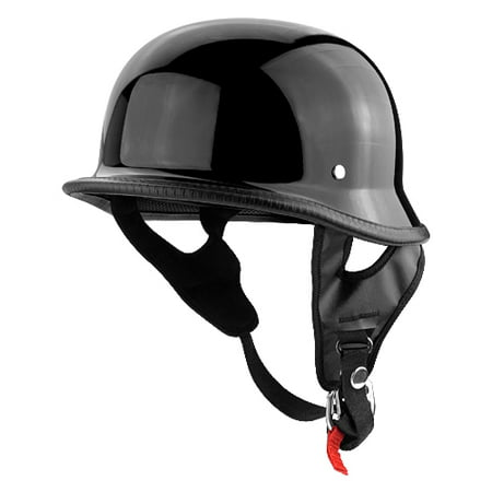 German Half Head Motorcycle Helmet Gloss Black ()