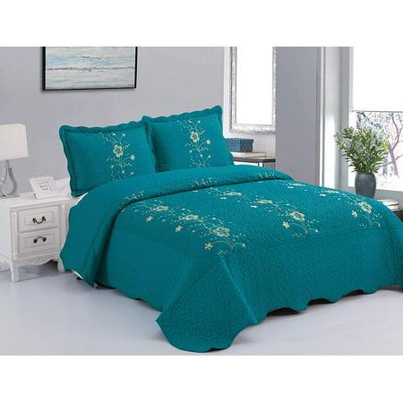 MarCielo 3 Piece Lightweight Bedspread Quilt Set Microfiber Quilt Bedspreads Bed Coverlet Set Prewashed Lapaz ()