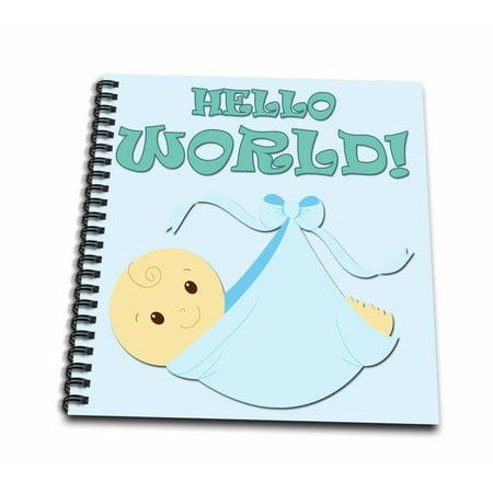3drose hello world baby boy newborn announcement drawing book