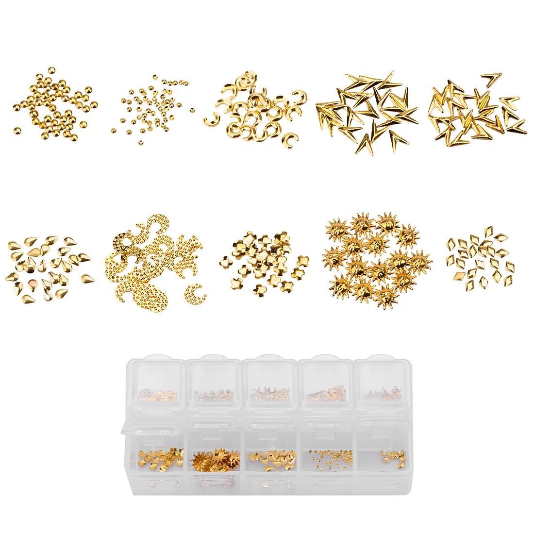 BMC 10 Mix Design Gold Colored Nail Art Metal Studs - The Golden Goddess