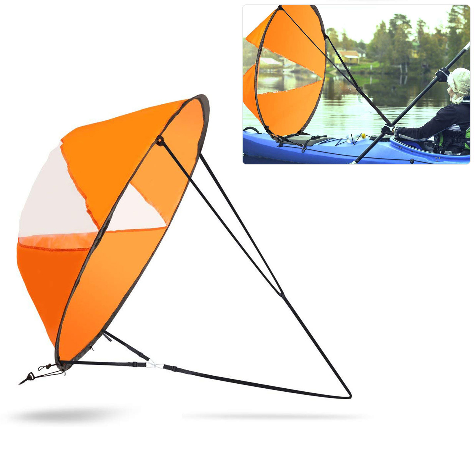 "EEEKit 42"" Kayak Boat Wind Sail, Foldable Kayak Wind Paddle Kit, Sup Sailboat Paddle Board Sailing Windpaddle Canoe Instant Sail Accessories Durable Surfing Portable"