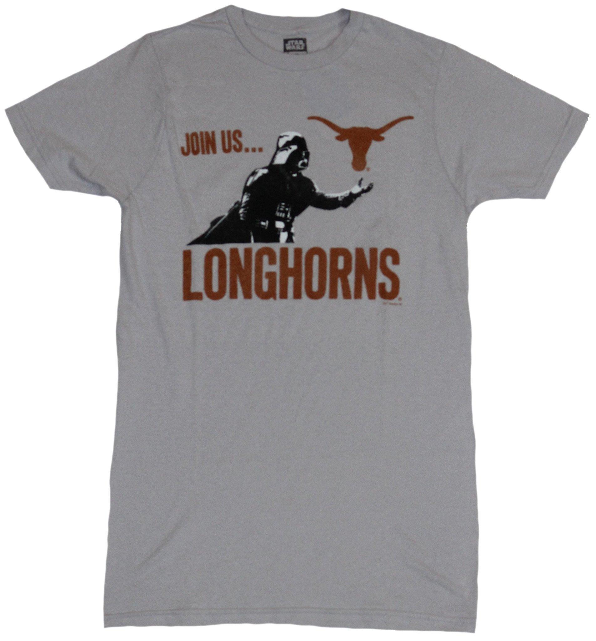 Star Wars Mens T-Shirt - Join Us Longhorns Darth Vader Image