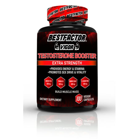 BESTFACTOR Vigor Testosterone Booster Pills for Men by Best Factor(100 Veggie Caps). Test Booster Supplement for Stamina & Strength - Enhance Sex Drive & Libido - Promotes Weight Loss & Fat (Best Testosterone For Cutting Cycle)