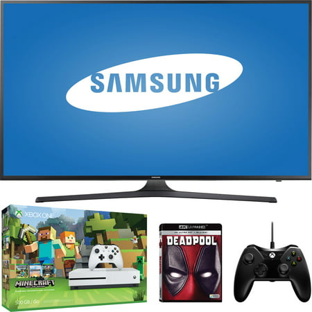 Samsung 4k HDTV (4K x 2K) with Xbox One S 500GB, Your Choice of Game or 4k UltraHD Movie, and Controller