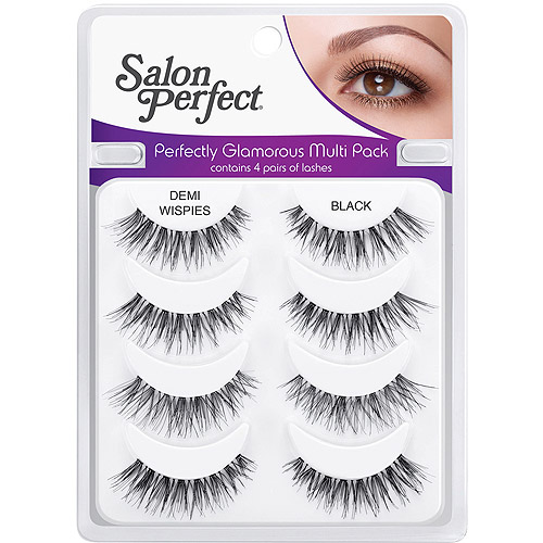 Salon Perfect Perfectly Glamorous Eyelashes, Black & Demi Wispies, 4 pair