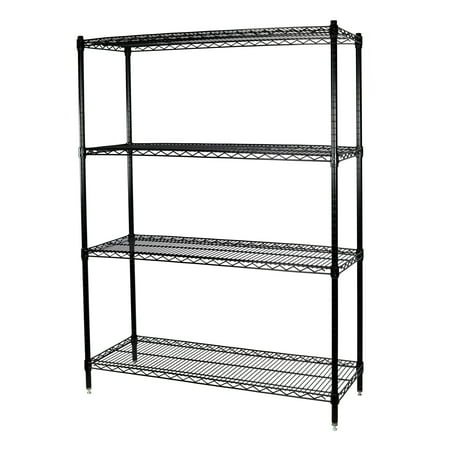 storage max black wire shelving unit 24 x 36 x 63 4 shelves - Wire Shelving Units