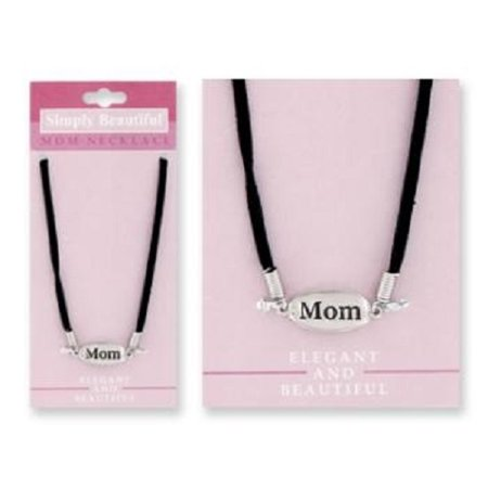 Simply Beautiful Mother Mom Necklace Silver With Black Band