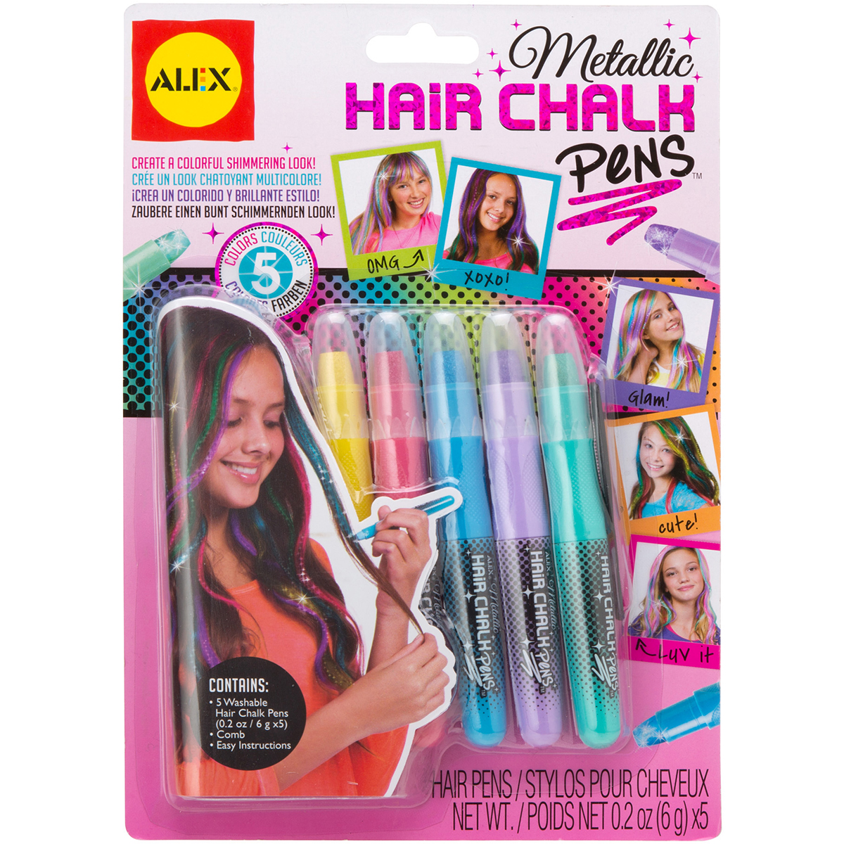 Alex Toys Hair Chalk Pens 5/Pkg Metallic