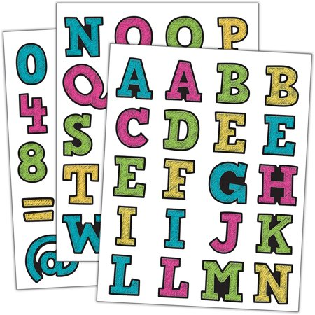 Chalkboard Bright's Alphabet Stickers (5017), Includes 80 letters, 20 Numbers, and 20 symbols. By Teacher Created Resources - Chalkboard Letters