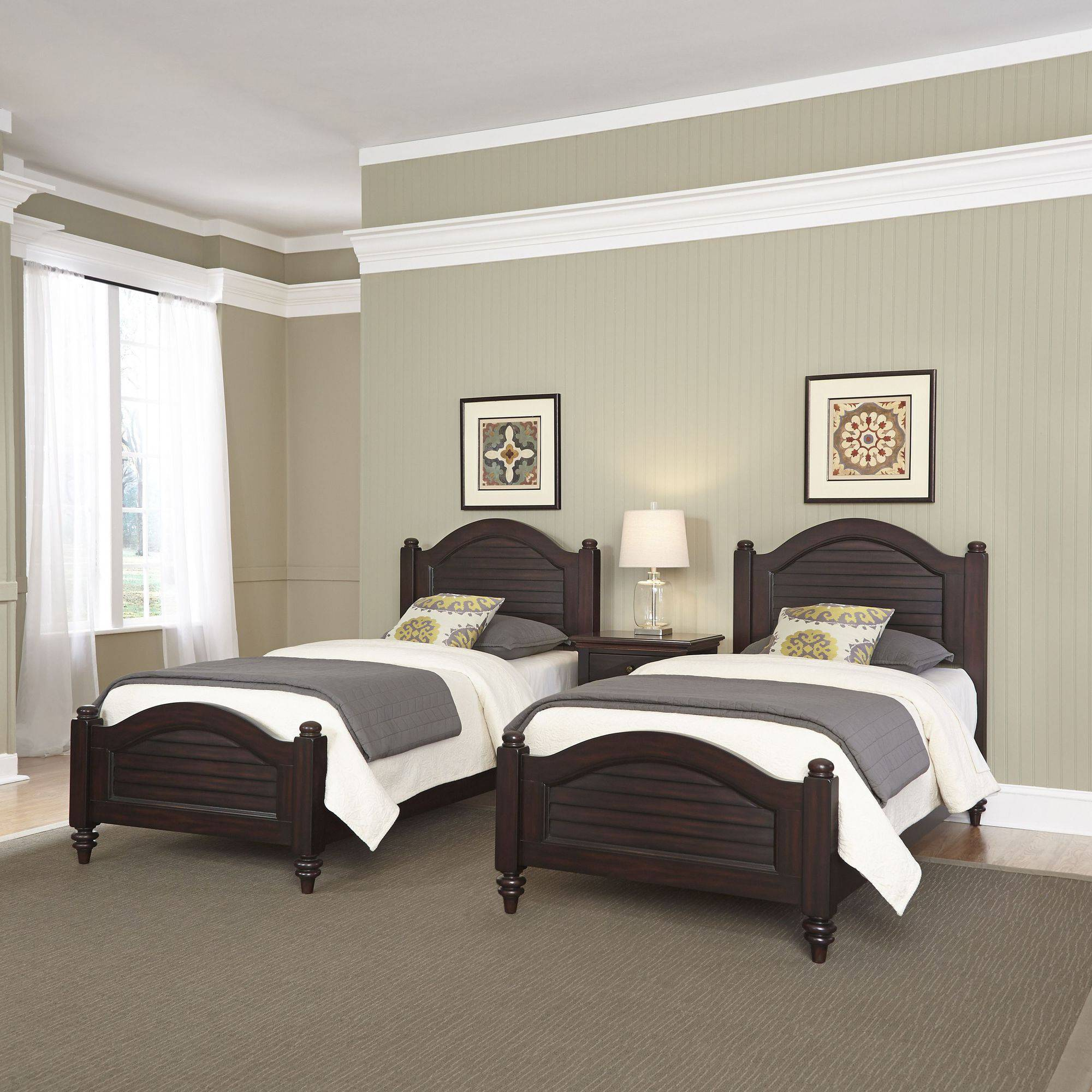 Bermuda Espresso Two Twin Beds and Night Stand