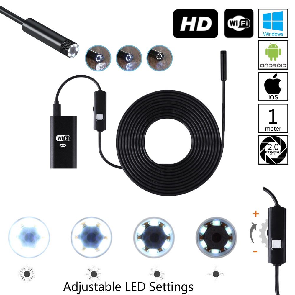 Wireless Endoscope WiFi Borescope Inspection Camera 2.0 Megapixels HD Snake Camera for Android & iOS & - Black(1 Meter) - image 1 of 5