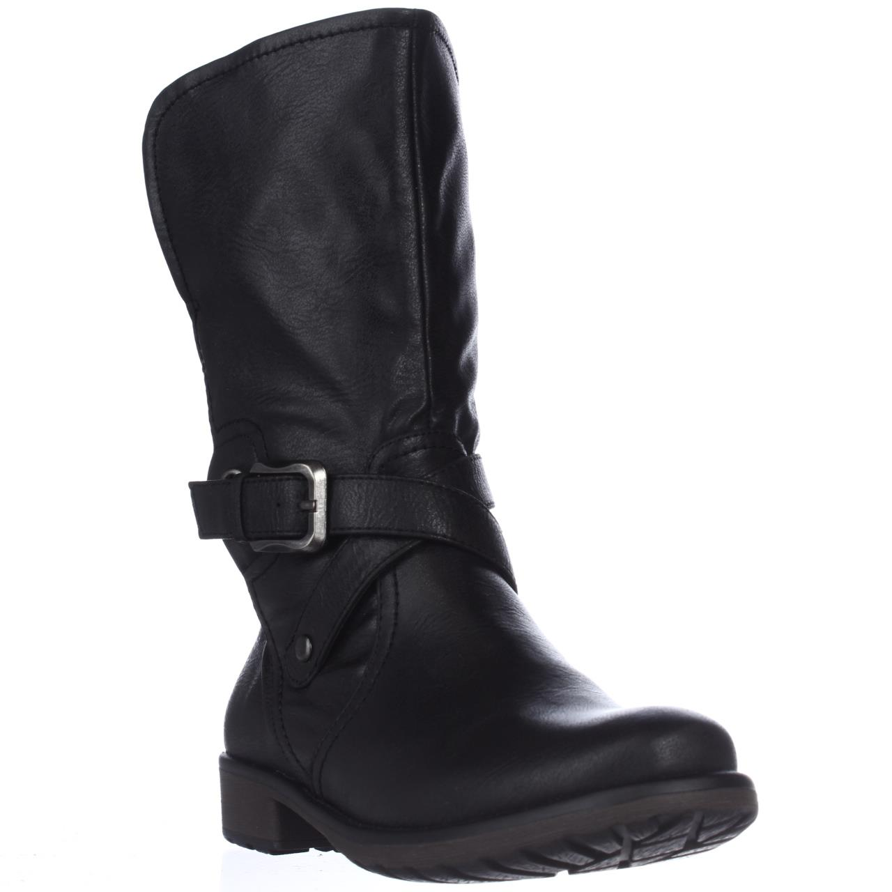 womens baretraps saldana mid calf motorcycle boots black