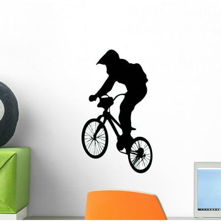 Jumping Bmx Silhouette Wall Decal Sticker, Wallmonkeys Peel & Stick Vinyl Graphic (12 in H x 7 in -