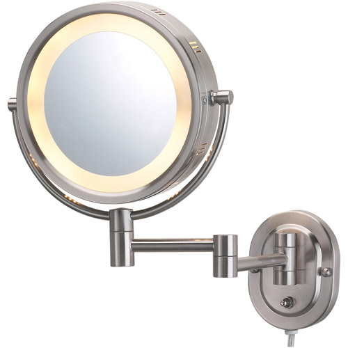 "Jerdon 8"" 2-Sided Swivel Halo-Lighted Wall Mount Mirror with 5x Magnification, 14"" Extension, Matte Nickel"