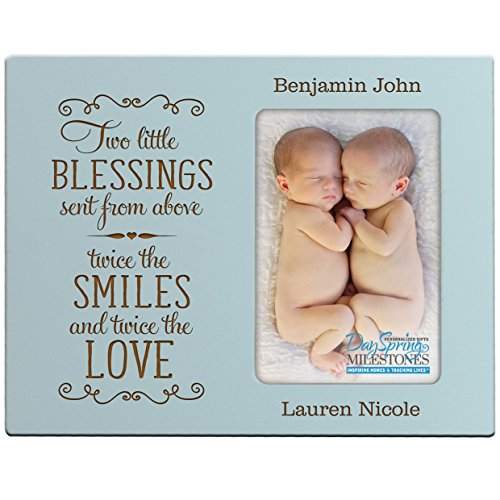 Personalized New baby gifts for twins picture frame for boys and girls Custom engraved photo frame for new parents nana,mimi and grandparents - Blue