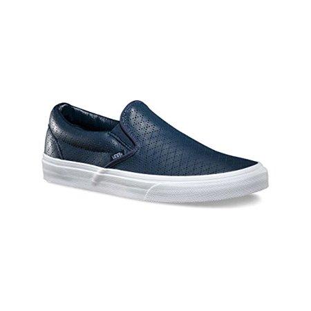 c075ccabd8 Vans - Vans Mens Classic Slip-On (Diamond Perforation) Blue Leather VN-0ZMRFDQ  10.5 - Walmart.com