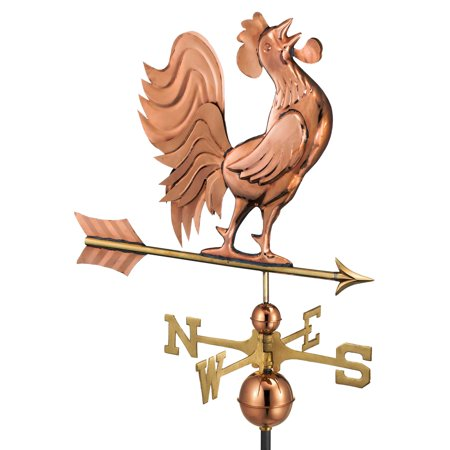 "Good Directions Crowing Rooster Weathervane, Pure Copper - 25""L"